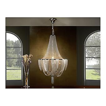 Schuller Modern Large Nickel 12 Bulb Minerva Chandelier Of Chains
