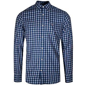 GANT Indigo Blue Twill Check Long-Sleeve Shirt