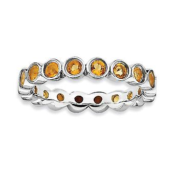 925 Sterling Silver Bezel Polished Patterned Rhodium plated Stackable Expressions Citrine Ring Jewelry Gifts for Women -