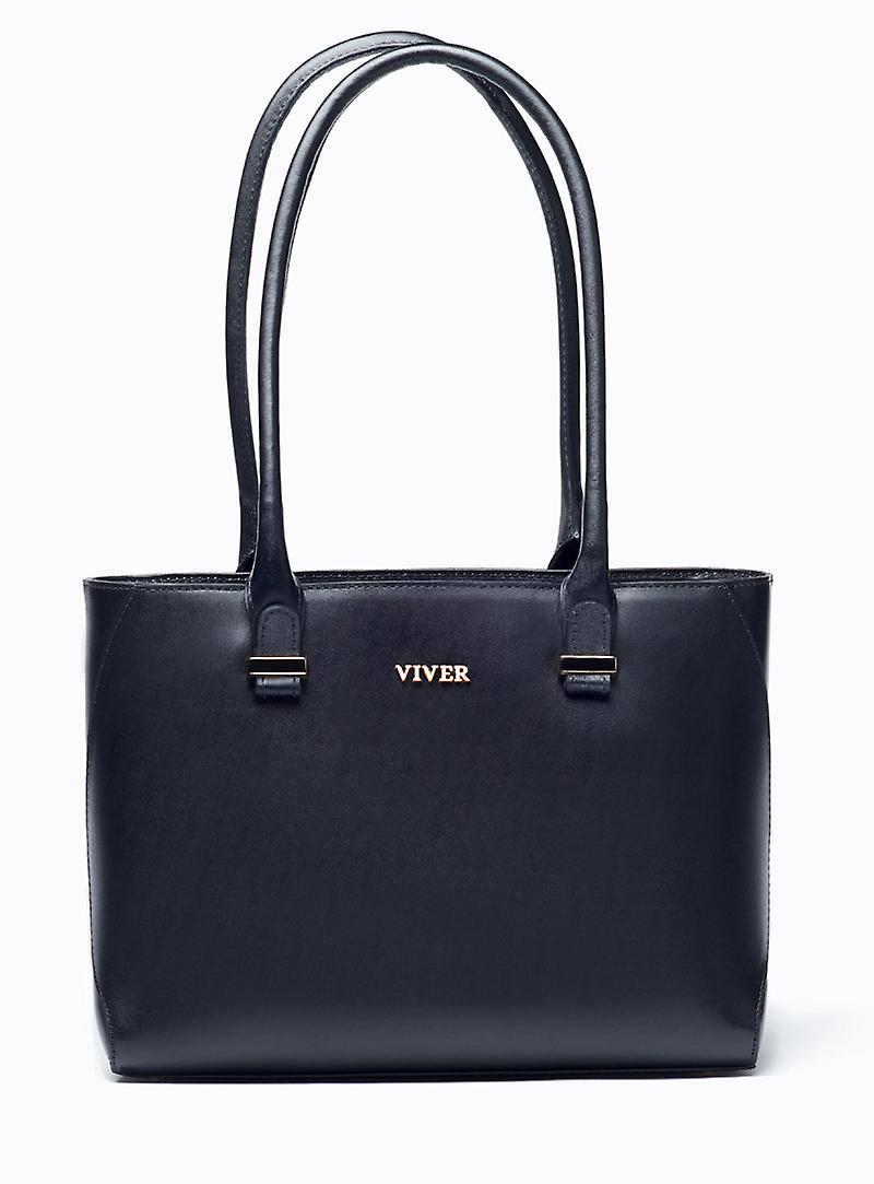 VIVER Leather Shoulder Bag Concord Black