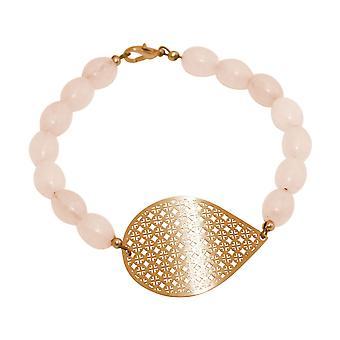 GEMSHINE Bracelet: Yoga Mandala and Rose Quartz Gemstones. Silver, gold plated,rose