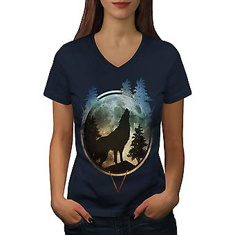 Wolf Nature Moon Women NavyV-Neck T-shirt | Wellcoda