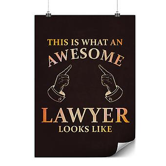 Matte or Glossy Poster with Awesome Lawyer | Wellcoda | *y3573