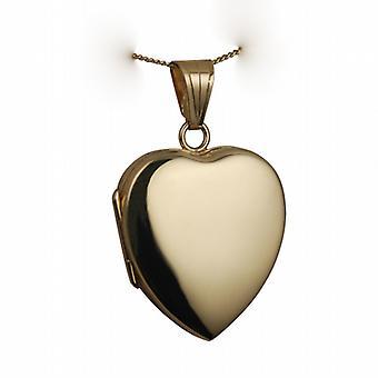 18 Karat Gold 24x20mm plain herzförmige Medaillon mit einem Bordstein Kette 16 Zoll nur geeignet für Kinder