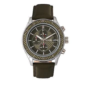 Maverick züchten Chronograph Lederband sehen w/Datum-Silber/Olive