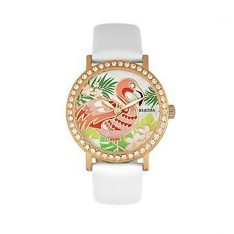 Bertha Luna Perlmutt Leder-Band Uhr - weiß