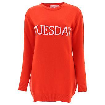 Alberta Ferretti 048566021114 Women's Red Wool Dress