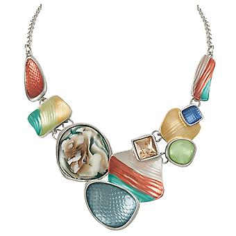 Eternal Collection Cavalcade Rainbow Multi Enamel Silver Tone Statement Necklace