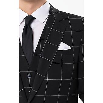 Dobell Mens Black Suit Jacket Regular Fit Notch Lapel White Windowpane Check