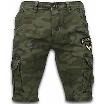 Shorts - Slim Fit Army Stitched Shorts - Dark Green