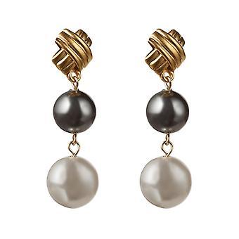 Gemshine örhängen vit och Tahiti grå odlade pärlor 925 silver eller guldpläterad
