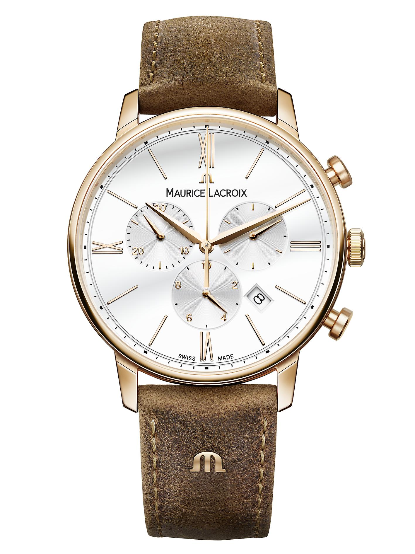 Maurice LaCroix Eliros Chronograph Leather Strap White Dial Mens Watch