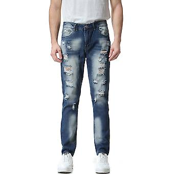 Allthemen Men's Hole Jeans Fashion Slim Fit Denim Hose