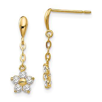 14k Yellow Gold Madi K CZ Cubic Zirconia Simulated Diamond for boys or girls Flower Dangle Post Earrings
