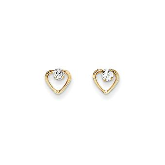 14k Yellow Gold Polished Love Heart With CZ Cubic Zirconia Simulated Diamond Post Earrings Jewelry Gifts for Women