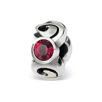 925 Sterling sølv polert Antique finish refleksjoner juli Crystal bead Charm