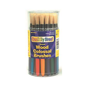 30 Round Chunky Handled Kids Paint Brushes for Arts and Crafts