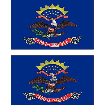 2 X Sticker Sticker Car Vinyl Pc Flag USA Americain North Dakota
