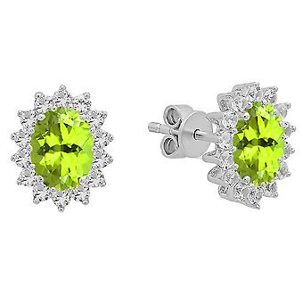 Dazzlingrock Collection Oval Peridot & Round White Sapphire Ladies Halo Style Fashion Stud Earrings, Sterling Silver