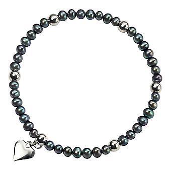 Delar Silver sötvatten pärla hjärta Charm Bracelet - Silver/svart