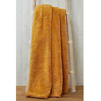 Snuggle beddengoed Teddy fleece deken gooien 130cm x 180cm-oker