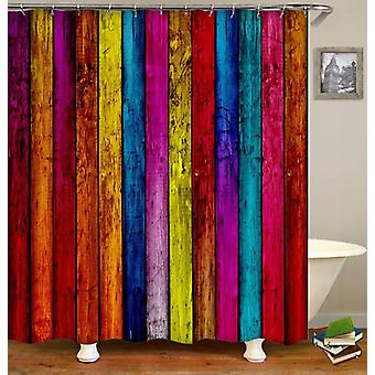 Colorful rough wooden deck Shower Curtain