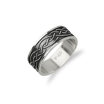 Sterling Silver Traditional Scottish Celtic Eternity Knotwork Design Ring