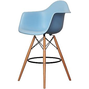 Charles Eames Style Blue Plastic Bar Stool With Arms