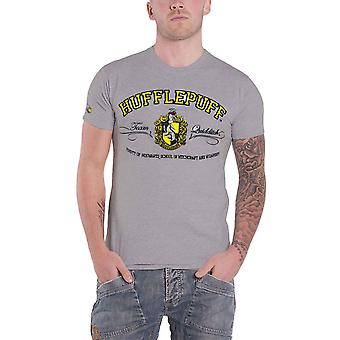 Harry Potter T Shirt Hufflepuff House Crest Applique Logo Official Mens Grey