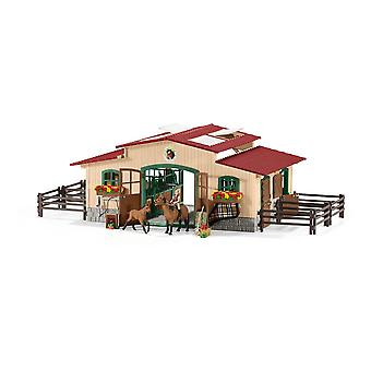 Schleich Farm World Stable with Horses and Accessories Toy (42195)
