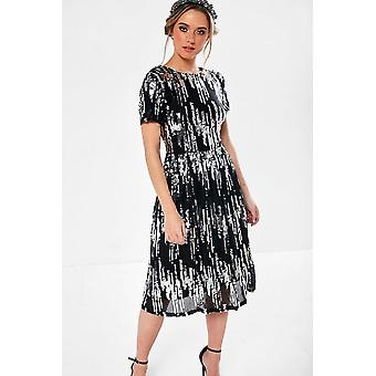 iClothing Lauren Sequin Occasion Dress In Silver And Black-14