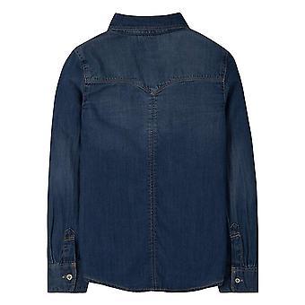 Levi's Girls' Kleine langärmelige Button Up Shirt, blaue Winde, 6