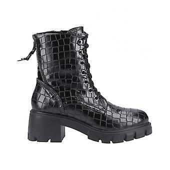 Steve Madden Feyla Ladies Ankle Boots Black Croc