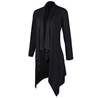 Vincenza women's casual asymmetric drape open long sleeve tunic tops waterfall cardigan outwear