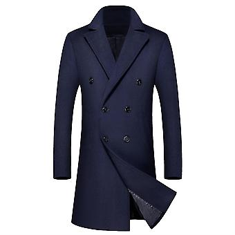 Allthemen Men's Solid Lapel Mid-Length Casual Coat Double-Breasted Winter Outwear Long Overcoat