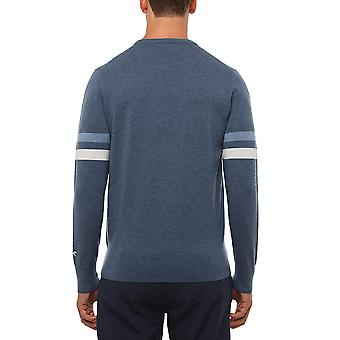 Wolsey Mens Stripe Crew Neck Lightweight Merino Wool Sweater