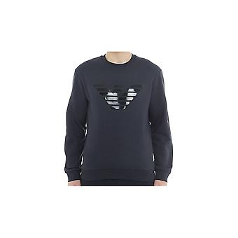 Emporio Armani Cotton Round Neck Eagle Logo Navy Sweatshirt