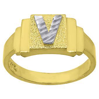 10k Two tone Gold baby voor jongens of meisjesLetter Naam Gepersonaliseerde Monogram Initial V Band Ring Measures 6.3x2.50mm Wide S