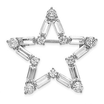 925 Sterling Silver Rhodium Plated CZ Cubic Zirconia Simulated Diamond Star Brooch Jewelry Gifts for Women