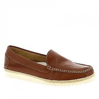 Men's handmade slip-on loafers shoes in brown calf leather
