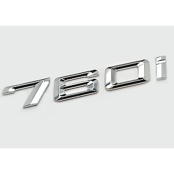 Silver Chrome BMW 760i Car Model Rear Boot Number Letter Sticker Decal Badge Emblem For 7 Series E38 E65 E66E67 E68 F01 F02 F03 F04 G11 G12