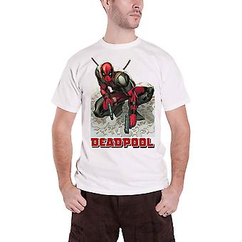 Deadpool T shirt Deadpool bullet holdning nye officielle Marvel Herre hvid
