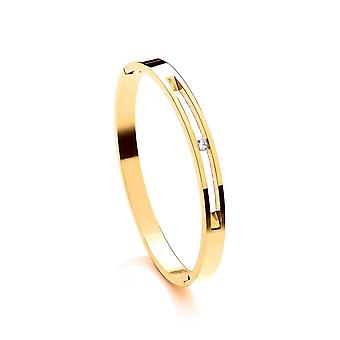 David Deyong Stainless Steel Yellow Gold Plated Cubic Zirconia Single Stone Bangle