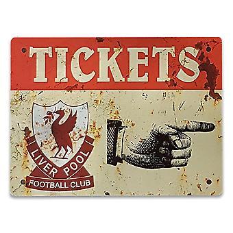 Metal plate vintage Liverpool tickets - 20x15 cm Man cave