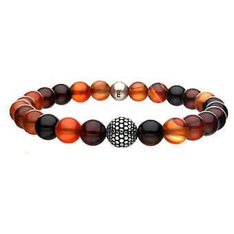 Men's Stretch Stainless Steel Bracelet with Red Agate Stones