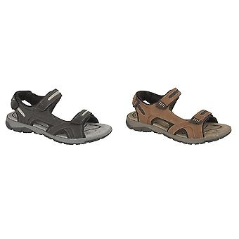 PDQ Mens 3 Touch Fastening Pig Leather Sports Sandals