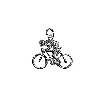 Silver 18x25mm Bicycle and Cyclist Pendant or Charm