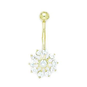 14k Yellow Gold CZ Cubic Zirconia Simulated Diamond 14 Gauge Dangling Flower Body Jewelry Belly Ring Measures 28x13mm Je