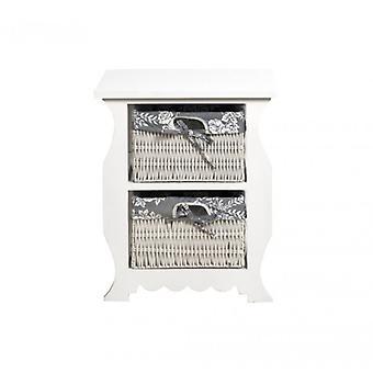 Rebecca Möbel Moderne weiße Nachttische 2 Weidenkörbe Home Bad Möbel