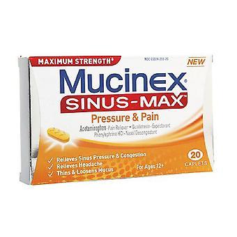 Mucinex sinus-max druk & pijn caplets, 20 ea